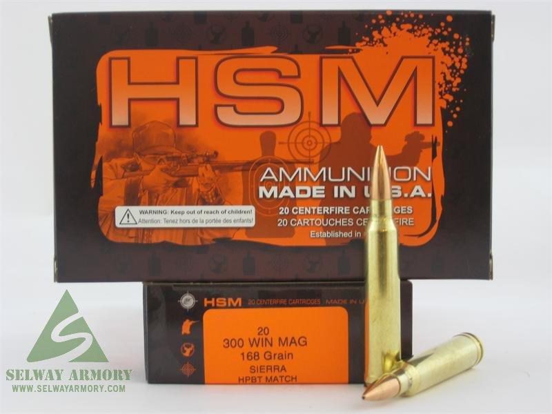 hsm 300 winchester magnum 168 gr sierra hpbt match box of 20