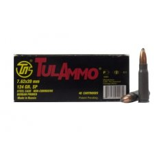 TulAmmo 7.62x39mm 124 Gr. SP (Bi-Metal) Steel Case Berdan Primed-UL076213