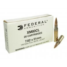 Federal 7.62x51mm NATO 149 Gr. XM80 Full Metal Jacket XM80CL